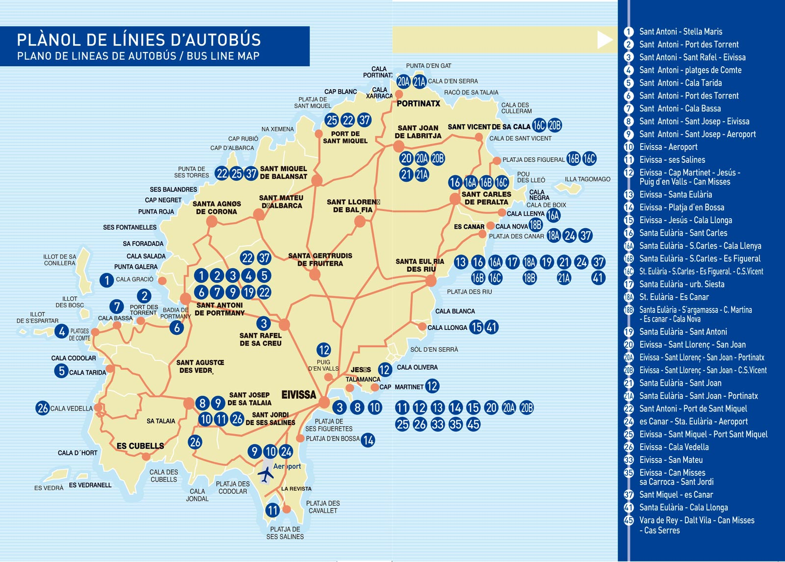 Map of all the bus routes in Ibiza