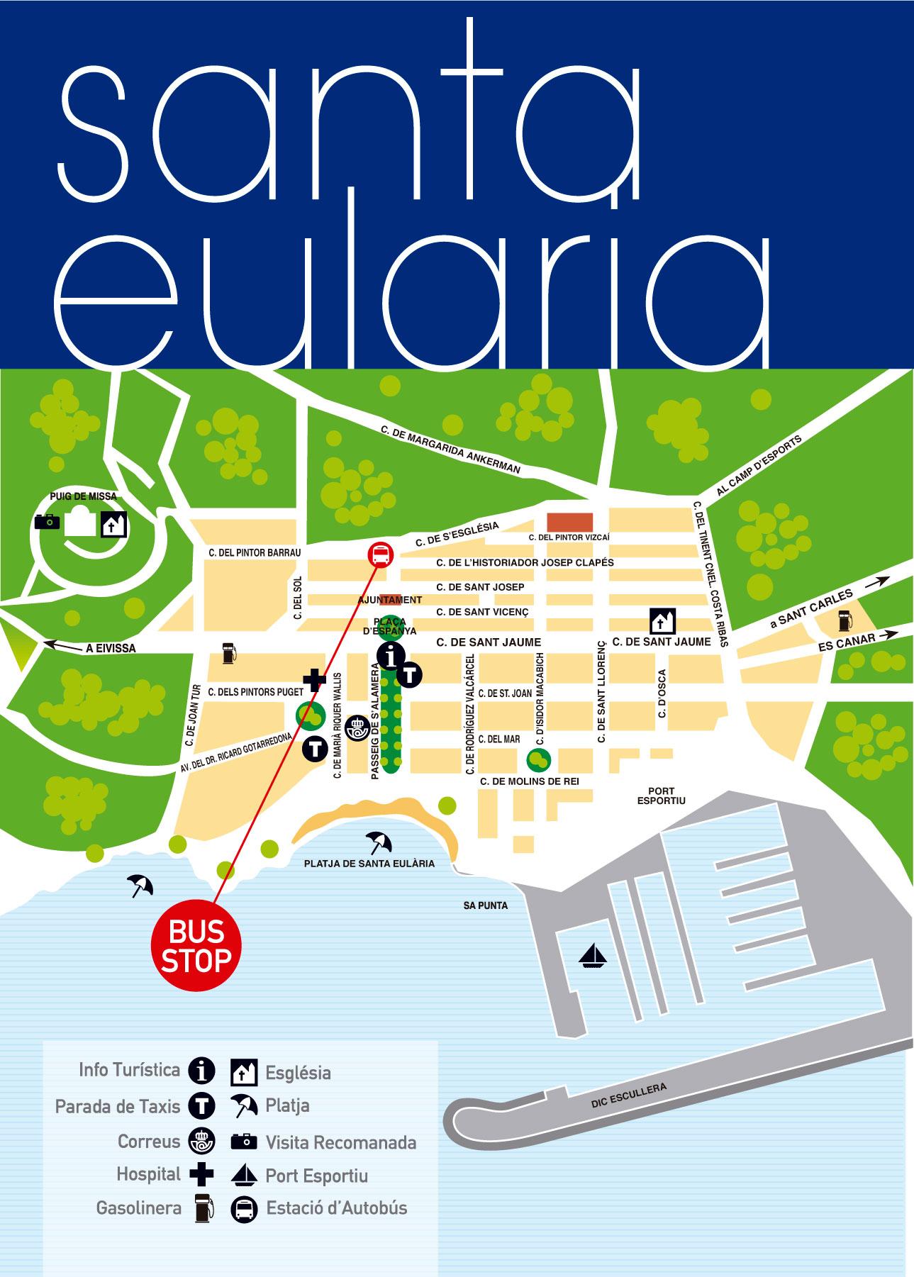 Mapa De Santa Eulalia Ibiza Bus